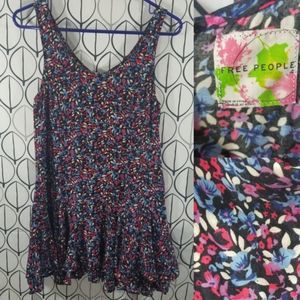 Free People Blue Pink Floral Mini Flutter Dress